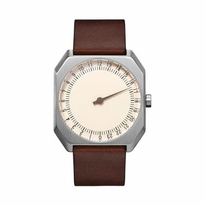 slow Jo 17 - Swiss one-hand watch - Silver, dark brown