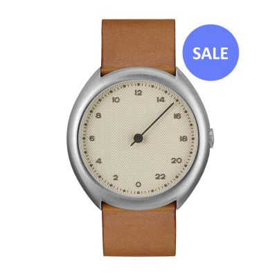 slow O 07 - silver Swiss 24 hour one hand wrist watch, stainless steel case, brown leather band - Front - Sale