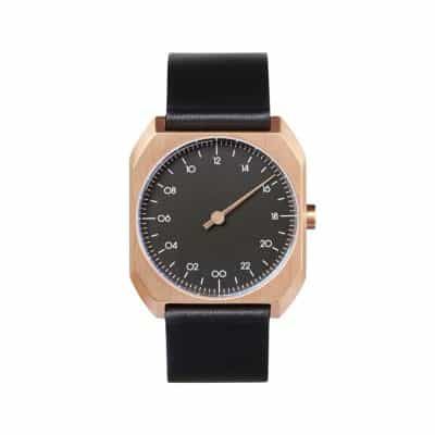 slow Mo 14 - Swiss one hand watch - Rose gold octagon case, black-1